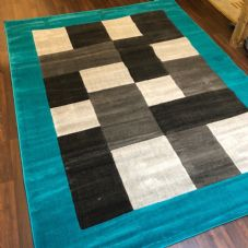 NEW MODERN BLOCK DESIGN RUGS TEAL 220X270CM 9X7FT APPROX LUXURY QUALITY MATS